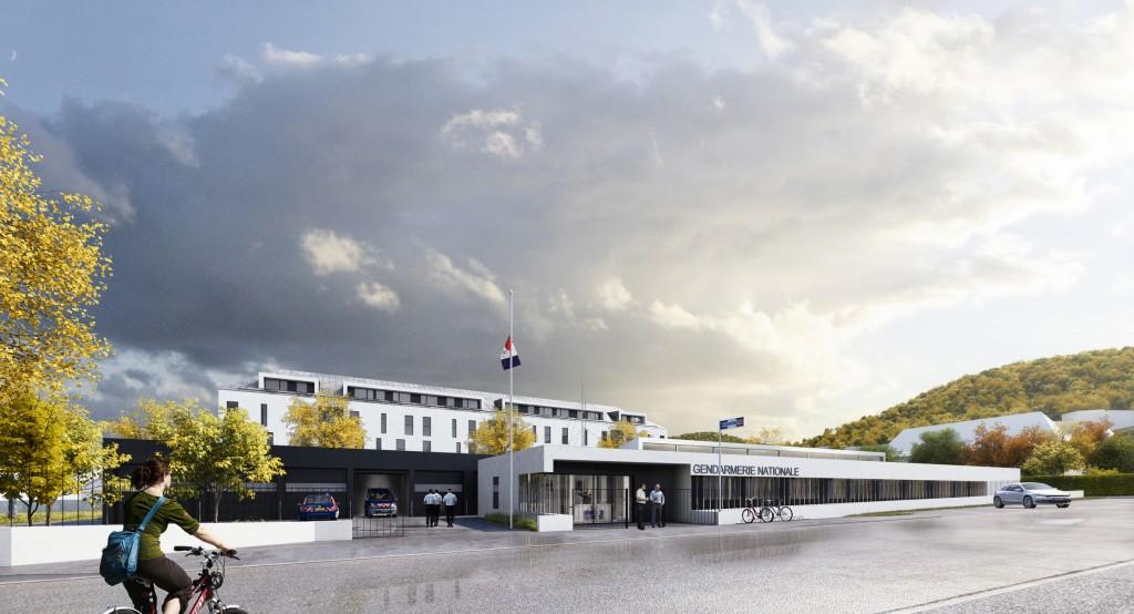 Le projet retenu pour la construction de la nouvelle gendarmerie de Guebwiller est celui du cabinet d'architectes Kauffmann et Wassmer. Un projet design et fonctionnel qui s'inclut harmonieusement dans le cadre de la réhabilitation des friches du haut de la ville.