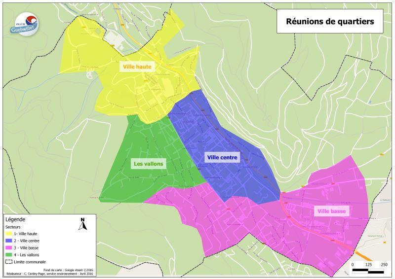 La ville de Guebwiller a été découpée en quatre secteurs pour les réunions de quartier : ville haute, les vallons, ville centre et ville basse.